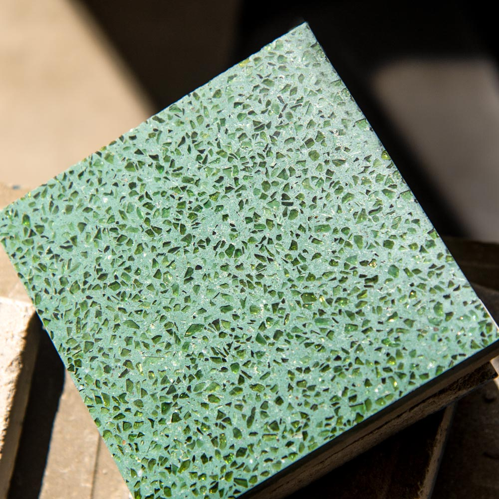 emerald green cement + green crystal grains